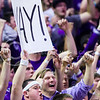 K-State students shout with glee following a turnover by Kansas guard Devonte' Graham in the second half of the Wildcats' 70-63 victory over the #8-ranked Jayhawks in the 281st Sunflower Showdown February 23, 2015, in Bramlage Coliseum. (Parker Robb | The Collegian)
