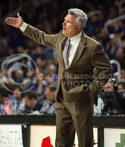 Head coach Bruce Weber trys to give advice to his team on Nov. 17, 2014 at Bramlage Coliseum.  The Wildcats are 2-0 so far this season.  (Rodney Dimick | The Collegian)