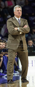 Head coach Bruce Weber gets frustrated over a play on the court on Nov. 17, 2014 at Bramlage Coliseum.  The men's basketball team won 83-73 against UMKC.  (Rodney Dimick | The Collegian)