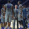 K-State head coach Bruce Weber talks to his team after a technical foul during the game against Nebraska-Omaha on Dec. 2, 2014 at Bramlage Coliseum. K-State defeated Omaha-Nebraska 84-66. (George Walker   The Collegian)