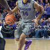 K-State guard Justin Edwards dribbles during the game against Nebraska-Omaha on Dec. 2, 2014 at Bramlage Coliseum. K-State defeated Omaha-Nebraska 84-66. (George Walker | The Collegian)
