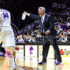Head coach Bruce Weber yells instructions at junior guard Justin Edwards in the second half of the Wildcats' 63-53 defeat of the Cowboys January 24, 2015, in Bramlage Coliseum. (Parker Robb | The Collegian)