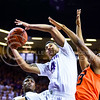 Junior guard Justin Edwards shoots a layup against Oklahoma State n the second half of the Wildcats' 63-53 defeat of the Cowboys January 24, 2015, in Bramlage Coliseum. (Parker Robb | The Collegian)