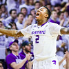 Sophomore guard Marcus Foster shouts emphatically after forcing an Oklahoma State turnover near the beginning of the second half of the Wildcats' 63-53 defeat of the Cowboys January 24, 2015, in Bramlage Coliseum. (Parker Robb | The Collegian)