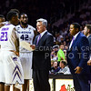 Heac coach Bruce Weber outlines the game plan for the final minute as they hold a twelve-point lead in the second half of the Wildcats' 63-53 defeat of the Cowboys January 24, 2015, in Bramlage Coliseum. (Parker Robb | The Collegian)