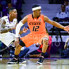 Oklahoma State guard Anthony Hickey, Jr., almost looses the ball to out of bounds as sophomore guard Nigel Johnson defends in the second half of the Wildcats' 63-53 defeat of the Cowboys January 24, 2015, in Bramlage Coliseum. (Parker Robb | The Collegian)
