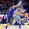 Sophomore guard Jevon Thomas attempts to dribble past West Virginia guard Juwan Staten in the second half of the Wildcats' brutal 59-65 loss to the #17-ranked Mountaineers January 27, 2015, in Bramlage Coliseum. (Parker Robb | The Collegian)
