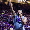 Senior forward Thomas Gipson makes a layup in the second half of the Wildcats' brutal 59-65 loss to the #17-ranked Mountaineers January 27, 2015, in Bramlage Coliseum. (Parker Robb | The Collegian)
