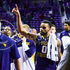 West Virginia guard Jaysean Paige recognizes the few West Virginia friends and family in the corner of the court as the #17-ranked Mountaineers walk off the court after brutally defeating the K-State Wildcats 65-59 January 27, 2015, in Bramlage Coliseum. (Parker Robb | The Collegian)