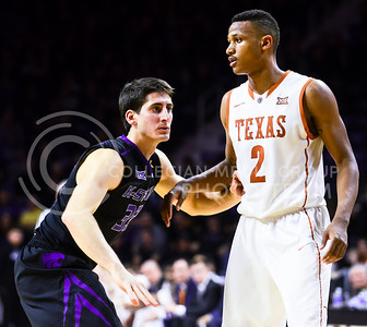 Junior guard Brian Rohleder guards Texas guard Demarcus Holland before Texas inbounds during the Wildcats' 57-61 loss to the Longhorns February 7, 2015, in Bramlage Coliseum. (Parker Robb | The Collegian)