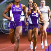 Junior mid-distance runner Sonia Gaskin (5) races down the straight stretch ahead of junior sprinter Tia' Gamble (3) in the women's 800m run at the DeLoss Dodds Invitational Track & Field Meet January 24, 2015, in Ahearn Fieldhouse. Both Gaskin and Gamble will travel to Fayetteville, Arkansas, to compete in the women's 4x400m relay at the NCAA Indoor Track & Field Championships--the first time K-State has ever sent a 4x400 relay team. (Parker Robb | The Collegian)