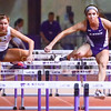 Senior heptathlete Sarah Kolmer hurdles a hurdle in the women's 60m hurdles at the K-State Open track & field meet on Feb. 20, 2015 at Ahearn Fieldhouse. (Parker Robb | The Collegian)