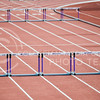 Hurdles sit on the track of the R.V. Christian Track Complex prior to an event at the Ward Haylett Invitational Track & Field meet May 3, 2014. (Parker Robb | The Collegian)