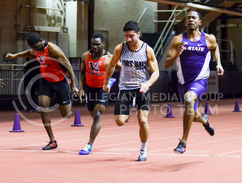 Senior sprinter Dane Steen barely edges out three other competitors in the 60m dash at the K-State Open track & field meet February 20, 2015, at Ahearn Fieldhouse. (Parker Robb | The Collegian)