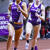 Sophomore distance runner Morgan Wedekind follows senior distance runner Laura Galvan around a bend in the women's 1-mile run at the K-State Open track & field meet February 20, 2015, at Ahearn Fieldhouse. (Parker Robb | The Collegian)