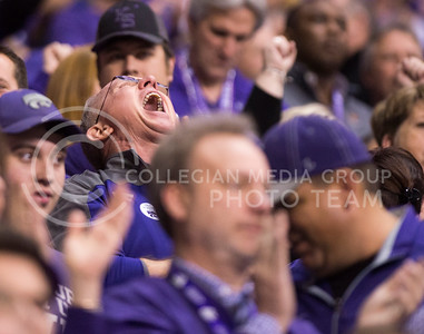 A K-State fan cheers during the 2015 Alamo Bowl game against UCLA on Jan. 2, 2015. (George Walker | The Collegian)