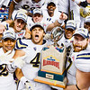 UCLA players celebrate following their 40-35 defeat of the Wildcats in the Alamo Bowl January 2, 2015, in San Antonio, Texas. (Parker Robb | The Collegian)