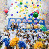 UCLA players celebrate their victory over Kansas State in the Valero Alamo Bowl as confetti fireworks expload and balloons are dropped in the Alamodome in San Antonio, Texas, January 2, 2015. (Parker Robb | The Collegian)