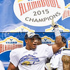 UCLA linebacker Kenny Young celebrates following UCLA's 40-35 defeat of Kansas State in the Valero Alamo Bowl January 2, 2015, in the Alamodome in San Antonio, Texas. (Parker Robb | The Collegian)