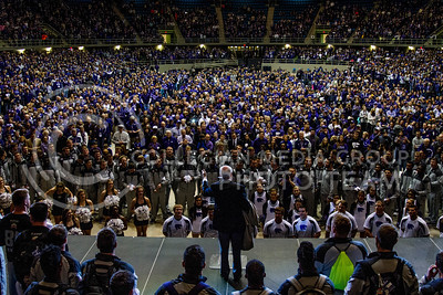 Addressing the 10,000 fans in attendance at the Alumni Association pep rally, Bill Snyder, Head Coach for the Kansas State University Wildcats, tells fans how much their support means to the team. The pep rally took place in Freeman Coliseum on Jan. 1. (Mason Swenson | The Collegian)