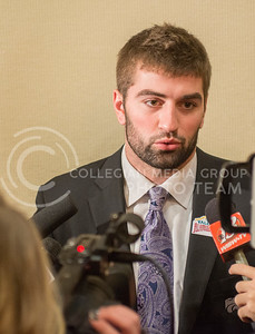 K-State quarterback Jake Waters speaks during the K-State Offensive press conference on Dec. 31, 2014. (George Walker | The Collegian)