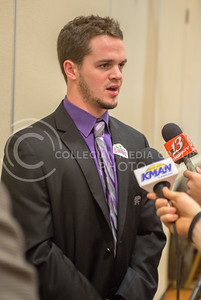 K-State wide receiver Currie Sexton speaks during the K-State Offensive press conference on Dec. 31, 2014. (George Walker | The Collegian)