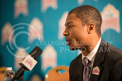 Senior wide receiver Tyler Lockett answers questions from reporters during the Offensive Press Conference on Dec. 31, 2014 at San Antonio.  (Rodney Dimick | The Collegian)