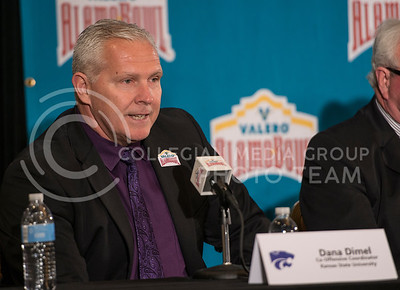 Co-Offensive Coordinator Dana Dimel reveals his thoughts about K-State's offense during the Offensive Press Conference on Dec. 31, 2014 at San Antonio.  Dimel was later intervied by several reporters.  (Rodney Dimick | The Collegian)