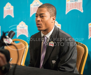 K-State wide receiver Tyler Lockett speaks during the K-State Offensive press conference on Dec. 31, 2014. (George Walker | The Collegian)