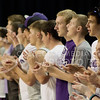 At the Kansas State Volleyball game vs. Arkansas on Sept. 4, 2014 students sing the fight song and support The Cats. (Kandace Griffin | The Collegian)
