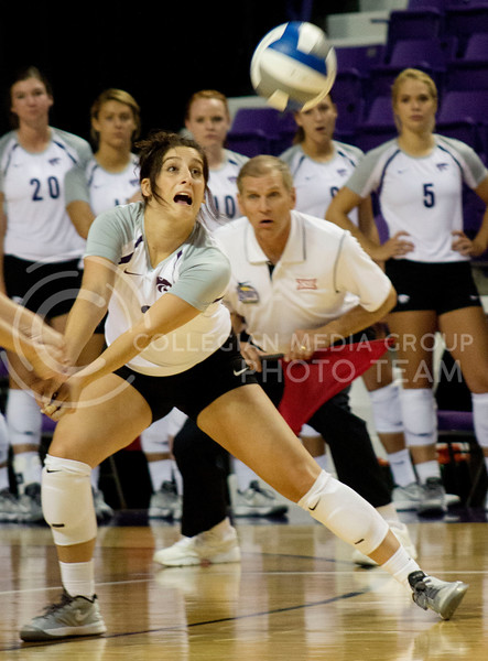Photo by Kandace Griffin | Collegian <br /> Gina Madonia, senior defensive specialist, goes for the ball in the Thursday, Sept. 4, 2014 game against University of Arkansas in Bramlage Coliseum. Kansas State swept Arkansas 3-0 in the opening match of the Varney's Invitational in Bramlage Coliseum.
