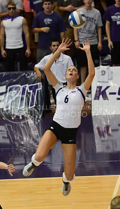 Sophomore setter Katie Brand sets the ball on Sept. 16, 2014 at Ahearn Field House.  (Rodney Dimick | The Collegian)