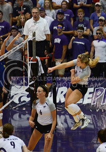 Senior outside hitter Chelsea Keating hammers the ball over on Sept. 16, 2014 at Ahearn Field House.  (Rodney Dimick | The Collegian)