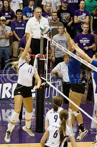 Sophomore outside hitter, Brooke Sassin tips the ball over the net during the South Dakota State game on Sept. 16, 2014 at Ahearn Field House. (Kandace Griffin | The Collegian)