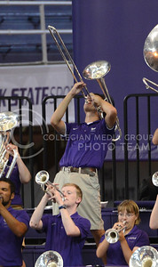 A trombone player blows with pride on Sept. 16, 2014 at Ahearn Field House.  (Rodney Dimick | The Collegian)