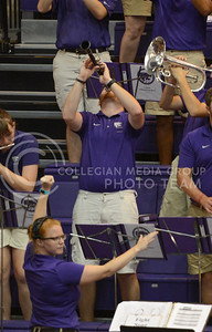 A band member plays his clarinet with force on Sept. 16, 2014 at Ahearn Field House.  (Rodney Dimick | The Collegian)