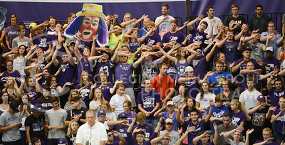 Student fans show their pride on Sept. 16, 2014 at Ahearn Field House.  (Rodney Dimick | The Collegian)