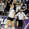 Outside hitter, Kylee Zumach tips the ball over the net during the game against Texas on Oct. 18, 2014 at Ahearn Field House. Texas beat Kansas State 3-0. (Kandace Griffin | The Collegian)
