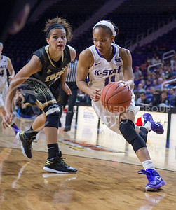 K-State guard Antoinette Taylor takes the ball to the basket during the game against Emporia State  at Bramlage Coliseum on Nov. 3, 2014. K-State defeated Emporia State 54-50. (George Walker | The Collegian)