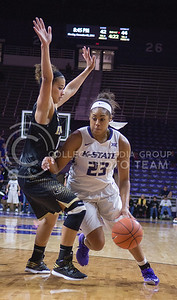 K-State guard Ashia Woods take the ball toward the basket during the game against Emporia State  at Bramlage Coliseum on Nov. 3, 2014. K-State defeated Emporia State 54-50. (George Walker | The Collegian)