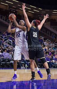 K-State forward Breanna Lewis goes for a basket at Bramlage Coliseum on Nov. 3, 2014 during the game against Emporia State. K-State defeated Emporia State 54-50. (George Walker | The Collegian)