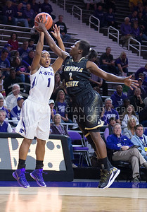 Emporia State guard Kelly Moten blocks K-State guard Haley Texada's pass during the game against Emporia State  at Bramlage Coliseum on Nov. 3, 2014. K-State defeated Emporia State 54-50. (George Walker | The Collegian)
