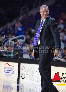 Women's basketball head coach Jeff Mittie looks at his team after securing the defeat of Emporia State at Bramlage Coliseum on Nov. 3, 2014. K-State defeated Emporia State 54-50. (George Walker | The Collegian)