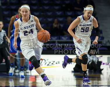 Sophomore guard Kindred Wesemann charges down the court with freshman guard Shaelyn Martin following on Jan. 11, 2014 at Bramlage Coliseum.  The Wildcats beat KU 58-52.  (Rodney Dimick | The Collegian)