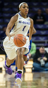 Senior guard Haley Texada moves the ball down the court on Jan. 11, 2014 at Bramlage Coliseum.  Texada has earned a total of 21 steals this season.  (Rodney Dimick | The Collegian)