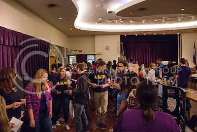 Students visit a variety of booths to learn more about the different clubs and organizations offered at K-State at the Wildcat Winter Expo in the Union Ballroom at the Student Union on Jan. 28, 2016. (Miranda Snyder | The Collegian)