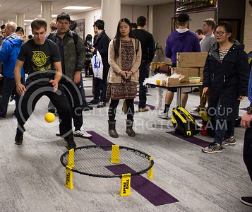 Members of the Spikeball Club show students how to play the game at the Wildcat Winter Expo in the Union Ballroom at the Student Union on Jan. 28, 2016. (Miranda Snyder | The Collegian)
