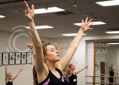 Elizabeth Hayes, freshman in mass communications participates in the jazz class for the Dance Day event in Nichols Hall on April 01, 2016. (Jessica Robbins | The Collegian)