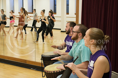 Ryan Strunk, sophomore in musical performance, Daniel Greenhalgh, sophomore in physics and math, and Alexis Nelson, junior in dance and elementary special education perform live music for the Afrian Dance class for the Dance Day event on April 01, 2016.