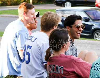 Mario Garcia    , sophomore in family studies and human services, shares a laugh at the Kappa Kappa Gamma and Delta Sigma Phi Sundae Funday philanthropy event on April 3, 2016, at the Kappa Kappa Gamma house. (Matthew Zajic   The Collegian)